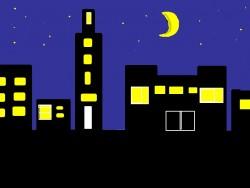 夜の集合住宅