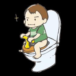 トイレでうんちを頑張る子供