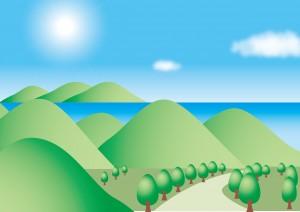 山と海のイラスト
