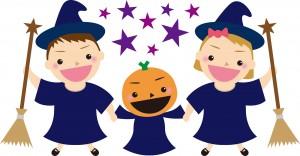 ハロウィンを楽しむ子供とかぼちゃのオバケ