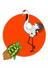 千歳飴の袋には鶴と亀の縁起物