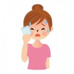 ひどく汗をかく女性のイラスト