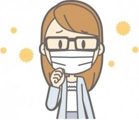 花粉対策でマスクをする女性のイラスト