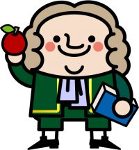 アイザック・ニュートンとりんごのイラスト