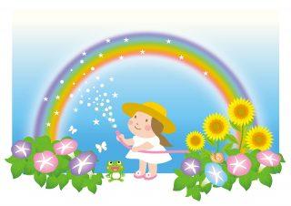 ホースで水を撒くと虹が出来ることがある