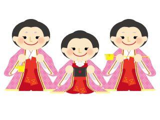 三人官女が持つ道具は婚礼をサポートするためのもの