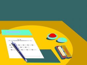 書類と印鑑のイラスト